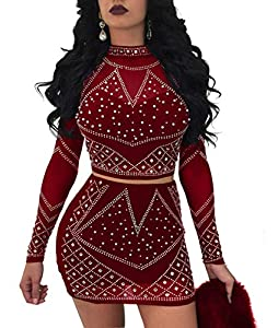 Nhicdns Womens Sexy Two Pieces Bodycon Outfit Embellished Rhinestone Long Sleeve Crop Top with Mini Dress Clubwear