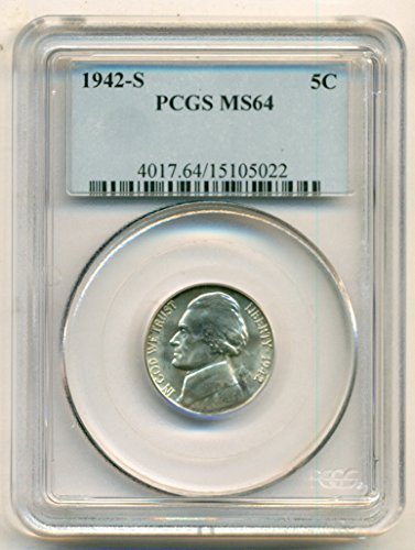 1942 S Jefferson Silver Nickel MS64 PCGS