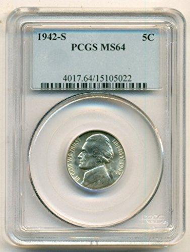 1942 S Jefferson Silver Nickel MS64 PCGS