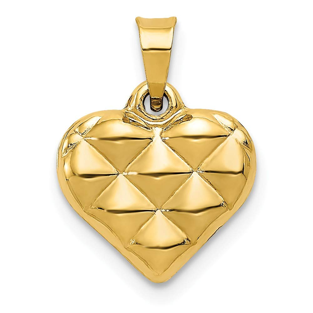14k Quilted Puffed Heart Charm Length 15 Width 11