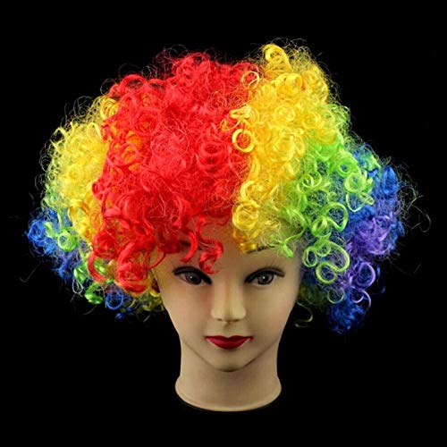 Party Hats - Masquerade Party Clown Hair Fan Wig Explosion Head Funny Color Rainbow Dress Up Diy - Dolls Mirror Mouse Skates Closet Jewelry Keeper Necklaces Nurse Clothes Earrings Dress Elmo Go