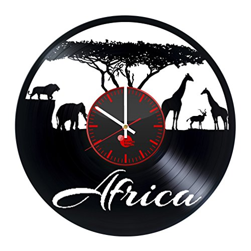 Safari Africa Animals Handmade Vinyl Record Wall Clock Fun gift Vintage Unique Home decor