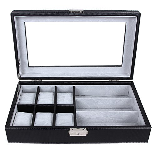 SONGMICS Black 6 Watch Box Jewelry Case Glasses Display Organizer Carbon Fiber Pattern Faux Leather UJWB13B