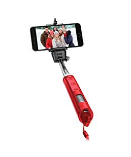 Smart Gear 40-inch Bluetooth Selfie Stick - Built In Wireless Shutter Release With Zoom Control - Red
