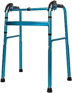 HRRH Sedia da toilette per assistenza sanitaria Altezza regolabile Quattro angoli Supporto pieghevole pieghevole in alluminio leggero da passeggio, blu e rosa, B