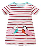 #7: Fiream Girls Cotton Striped Dresses Shortsleeve Animal Appliques T-Shirt Casual Dresses 2-7T