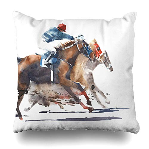 Covers Horse Racing (Ahawoso Throw Pillow Covers Sketch Watercolor Painting Horse Race Competition Derby Horses Racing Sports Recreation Jockey Home Decor Pillow Case Square Size 16 x 16 Inches Zippered)
