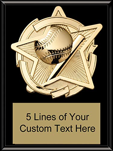 Express Medals 8 x 10 Black Finish Baseball Star Plaque Trophy Award with Custom Engraved Personalized Text