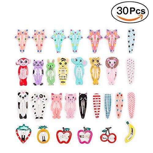 Sufermoe - 30 Pinzas para el Pelo, diseño de Dibujos Animados, Antideslizantes, para niñas, Adolescentes, niños, A-30 Pcs...