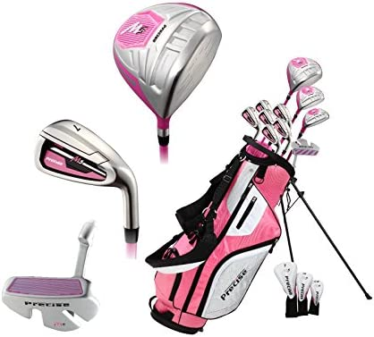 Precise M5 Ladies Womens Complete Right Handed Golf Clubs Set Includes Titanium Driver, S.S. Fairway, S.S. Hybrid, S.S. 5-PW Irons, Putter, Stand Bag, 3 H C s Pink