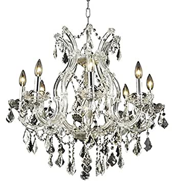 Maria Theresa 9 Light Dining Chandelier in Chrome with Royal Cut Clear Crystal