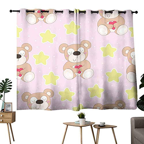 Mannwarehouse Sliding Curtains Vector Pattern with Teddy Bear and Hearts Darkening and Thermal Insulating 63