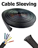 10 FT 3/4'' Black Expandable Wire Cable Sleeving Expandable Braided Sleeving Braided Cable Sleeve Expandable Braided Cord Sleeve Cord Managment Super-Deals-Shop