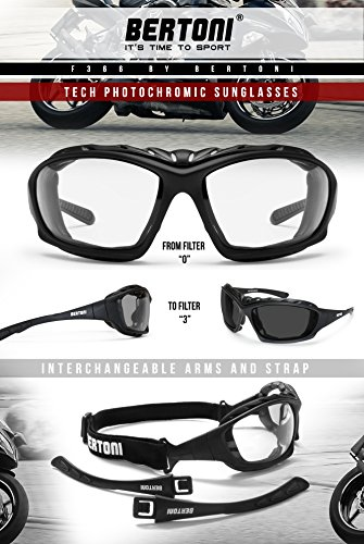 Bertoni Motorcycle Goggles Padded Sunglasses - Photochromic Antifog Lens - Removable Clip for Prescription Lenses - Interchangeable Arms and Strap - by Bertoni Italy F366A Motorbike Bikers Glasses by Bertoni (Image #5)