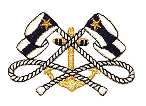 (Ship Anchor & Nautical Flags Ensign Patch ID 0366 Yacht Club Iron On Applique)