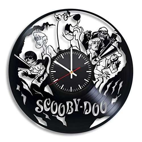 Scooby-Doo Room Decor, Scooby Doo Vinyl Wall Record Clock Handmade Accessory Vintage Nursery Decoration Theme Present Gift for Kids Adults Party Supplies Artwork Stuff Merchandise Item]()