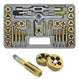 XtremepowerUS 40-Piece Titanium Coated Tap & Hexagon Die Set - SAE