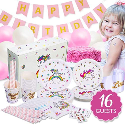 Unicorn Party Supplies Birthday Set SASH TATTOOS BALLOONS BANNER Plates Cups Napkins Serves 16 Teal]()