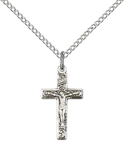 ce46e9a40922 F A Dumont Church Supplies Colgante Cruz Cristo Jesús Crucifijo Plata Maciza  con 18 Cadena de Plata de Ley Lite.  Amazon.es  Joyería