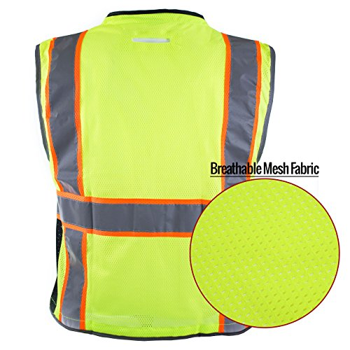RK Safety P6612 Class 2 High Visible Two Tone Reflective Strips Breathable Mesh Vest, Pockets Harness D-Ring Pass Thru, ANSI/ISEA, Construction Motorcycle Traffic Emergency (Lime, Medium) by New York Hi-Viz Workwear (Image #5)