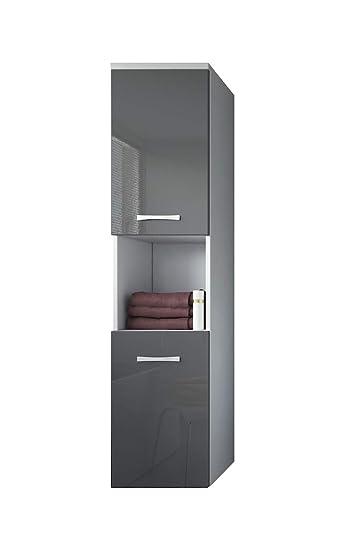 Badezimmer Schrank Montreal 131 Cm Grau Hochglanz Fronten Regel