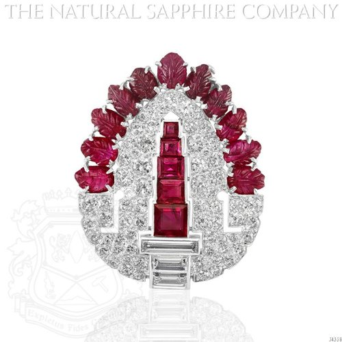 White Ruby Brooch (J4358) - Diamond Ruby Sapphire Brooch