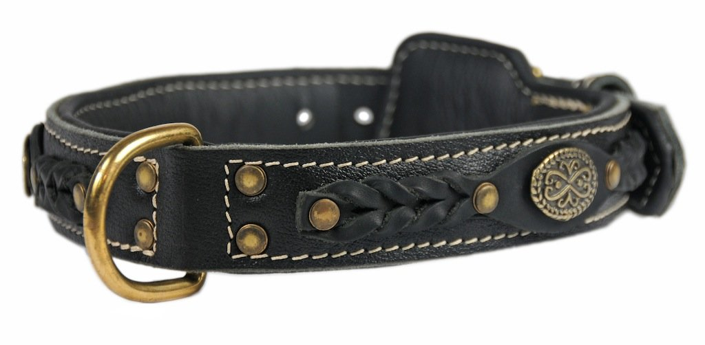 Dean and Tyler  DEAN'S LEGEND  Dog Collar With Black Padding Solid Brass Hardware Black Size 51cm x 4cm Width. Fits neck size 18 Inches to 22 Inches.