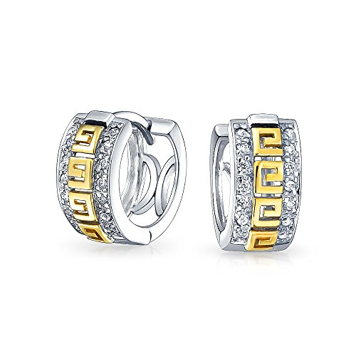 - Two Tone Greek Key Cutout Huggie Hoop Earrings For Women For Men Cubic Zirconia CZ 14K Gold Plated 925 Sterling Silver
