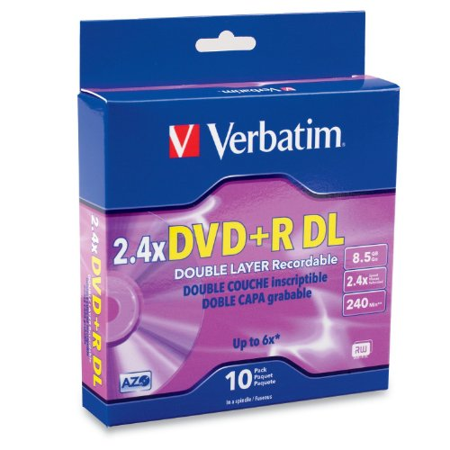 Verbatim 95166 8.5 GB 2.4X Double Layer Recordable Disc DVD plus R DL, 10-Disc Spindle (Discontinued by Manufacturer)