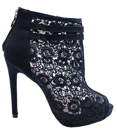 HeelzSoHigh Ladies Black Slip-On Stiletto Lace Peep-Toe Zip-up Ankle Calf Boots Shoes Sizes 2-7 dPbtm6