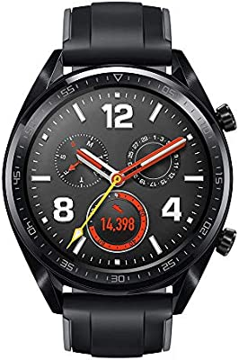 Huawei Watch GT 2018 Bluetooth SmartWatch,Ultra-Thin Longer Lasting Battery Life,Compatible with iPhone and Android (Black (Silicone Strap)) (Renewed)