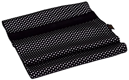 Black White Spotted Printed Double Layer Long Pure Silk Scarf