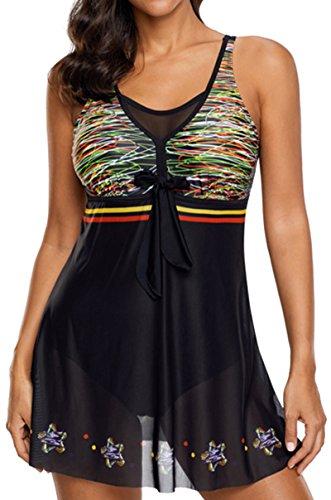 pezzi con da Prospettiva Tankini Set Costume Bikini gonna Nero bagno multicolore Bettydom due IZgq8Fw