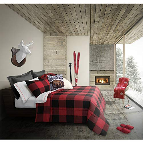 (MISC 3 Piece Black White Checkered Plaid Comforter Full Queen Set Tartan Plaid Bedding Lodge Cabin Hunting Themed Check Pattern, Polyester)