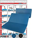 POWRX Materassino Fitness 180 cm x 60 cm x 1,5 cm - Materassino Pieghevole e Pvc Free