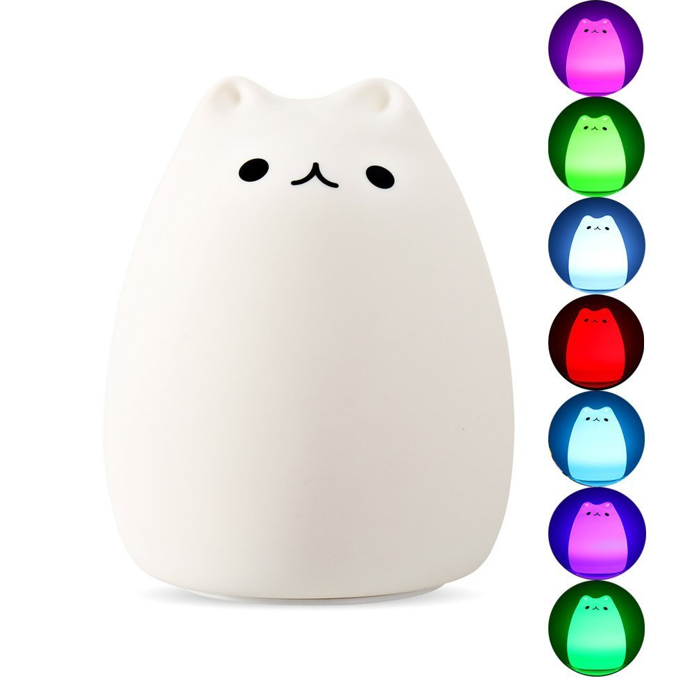 DASTLING Colorful Silicon Cute Cat LED Night Light, Tap Sensor Control, USB Rechargeable Lighting, Warm White Normally-on and 7 Colors Stroboscopic mode, Good Decor Lamp for Baby Bedroom, Children
