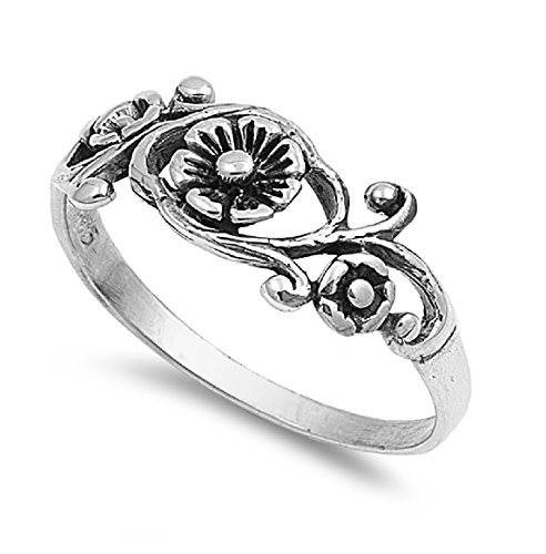(CloseoutWarehouse Sterling Silver Antique Filigree Flower Ring Size 6)