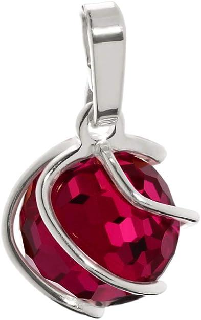 rouge rubis 9mm dames 7875 Pendentif boule sph/ère NKlaus 925 argent sterling synt