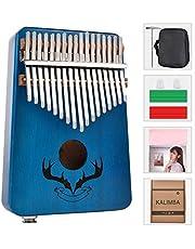 Kalimba 17 Keys Mahogany Thumb Piano With Finger Pianos Bag Tuning Hammer Study Instruction Book (Blue)
