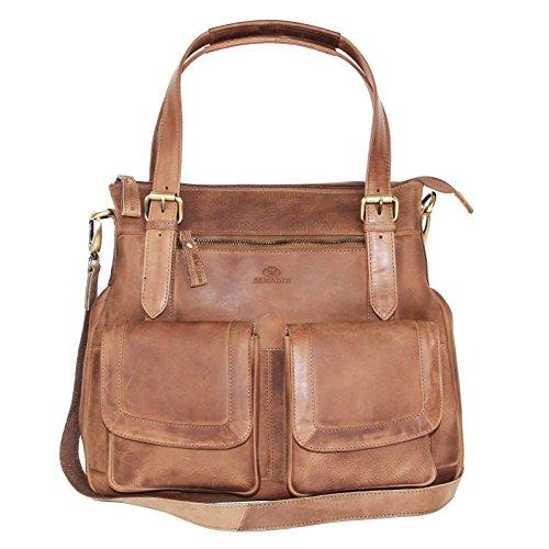 00b6ac9441e1c ALMADIH Leder Damentasche M24 aus Rindsleder - Handtasche Henkeltasche  Schultertasche Ledertasche Tasche Umhängetasche braun Vintage