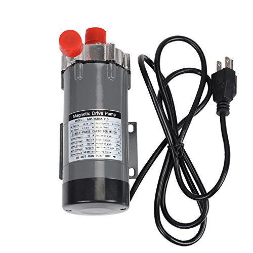 Ferroday Magnetic Drive Pump, Food Grade High Temperature Stainless Head Magnetic Pump 15RM with 1/2 NPT thread Home Brew