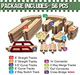 ToysOpoly Wooden Train Tracks 56 Piece Pack - 100% Compatible with Thomas, Brio, Ikea, and Chuggington Railway - Deluxe Real Beech Wood Set - Best Hobby For Kids With Active Minds
