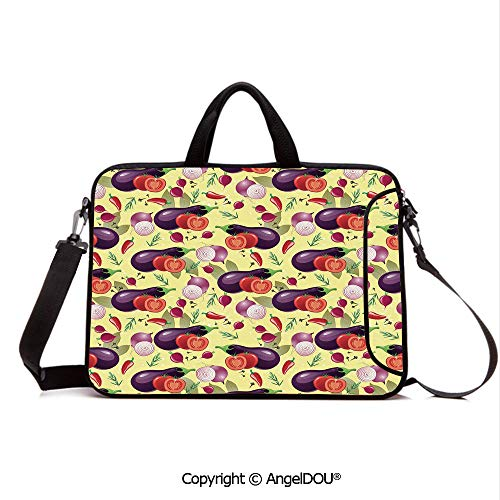 AngelDOU Waterproof Laptop Sleeve Bag Neoprene Carrying Case with Handle & Strap Eggplant Tomato Relish Onion Going Green Eating Organic Tasty Preserve Nature De for Women &Men Work Home Office Mult