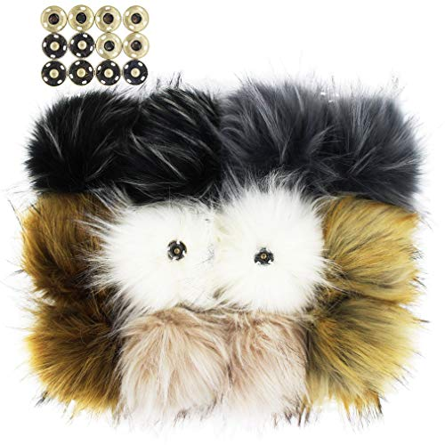 SUSULU Pack of 12 Faux Raccoon Fur Pompoms with Press Button for Knitting Hats (Popular Mix) from SUSULU