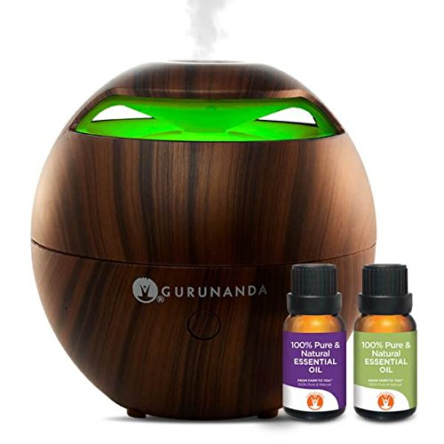 Gurunanda Aromatherapy Best Essential Oil Diffuser Ultrasonic Cool Mist  Globe  Diffuser Kit With Multicolor Led Lights Auto Shut Off
