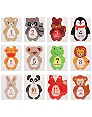 12 Stks Baby Maandelijkse Sticker Cartoon Diervormige mijlpaal herinneringen Photo Props voor 1-12 Maand Pasgeboren Jongens Meisjes