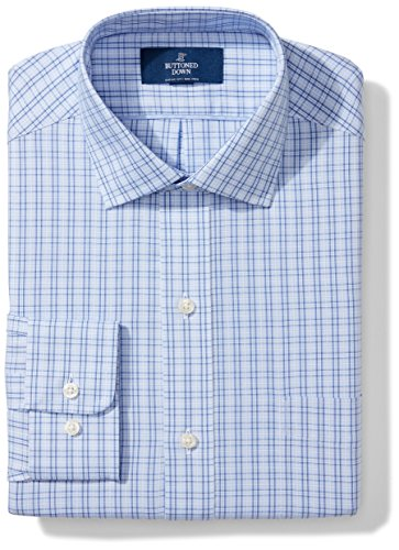 Classic Fit Plaid Shirt (Buttoned Down Men's Classic Fit Spread Collar Pattern, Mini Blue Glen Plaid, 16