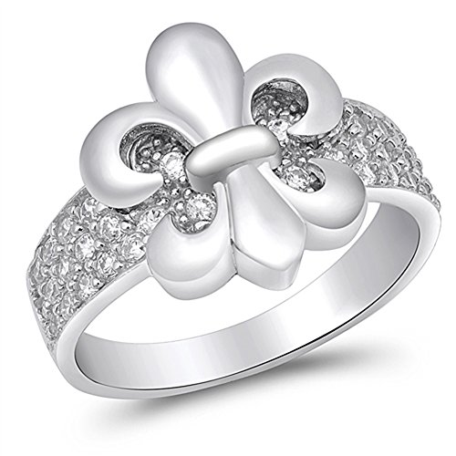 White CZ Fleur De Lis Pave Wide Ring New .925 Sterling Silver Band Size (Fleur De Lis Pave Ring)
