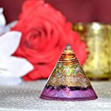New Orgone Round Pyramid for Healing | Ruby Zoisite | Rose Quartz | Amethyst | Orgonite Round Pyramid for Good Luck – Anti-Stress – Unconditional Love Gemstone Orgone Crystal Antenna
