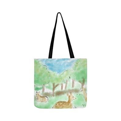 ca7050c70093 Amazon.com  Animal Dear Cartoon Canvas Tote Handbag Shoulder Bag ...